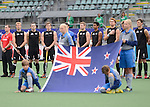 The Hague, Netherlands, June 15: Players of New Zealand line up prior to the field hockey placement match (Men - Place 7th/8th) between Spain and the Black Sticks of New Zealand on June 15, 2014 during the World Cup 2014 at Kyocera Stadium in The Hague, Netherlands.  Final score after full time 1-1 (0-1). The Black Sticks of New Zealand win the shoot-out 1-4.  (Photo by Dirk Markgraf / www.265-images.com) *** Local caption ***