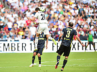 Landover, MD - August 4, 2018: Real Madrid forward Borja Mayoral (21) connects with the ball off his head during the match between Juventus and Real Madrid at FedEx Field in Landover, MD.   (Photo by Phillip Peters/Media Images International)