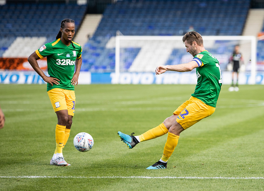 Preston North End's Paul Gallagher (left) takes a free kick as team mate Daniel Johnson looks on  <br /> <br /> Photographer Andrew Kearns/CameraSport<br /> <br /> The EFL Sky Bet Championship - Luton Town v Preston North End - Saturday 20th June 2020 - Kenilworth Road - Luton<br /> <br /> World Copyright © 2020 CameraSport. All rights reserved. 43 Linden Ave. Countesthorpe. Leicester. England. LE8 5PG - Tel: +44 (0) 116 277 4147 - admin@camerasport.com - www.camerasport.com