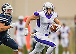 8 October 2016: Amherst College Purple & White Wide Receiver Devin Boehm, a Senior from Wilmette, IL, rushes for yardage against the Middlebury College Panthers at Alumni Stadium in Middlebury, Vermont. The Panthers edged out the Purple & While 27-26. Mandatory Credit: Ed Wolfstein Photo *** RAW (NEF) Image File Available ***