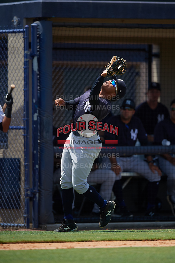GCL Yankees East third baseman Starlin Paulino (6) catches a pop up during a game against the GCL Yankees West on August 8, 2018 at Yankee Complex in Tampa, Florida.  GCL Yankees West defeated GCL Yankees East 8-4.  (Mike Janes/Four Seam Images)
