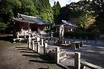 Fudodo Hall with Fudo Myo-o, Acalanatha or Acala statue at Goma-dojo. Shimo-Daigo part of Daigoji complex, Daigo-ji temple, Shingon Buddhist temple in Fushimi-ku, Kyoto, Japan 2017