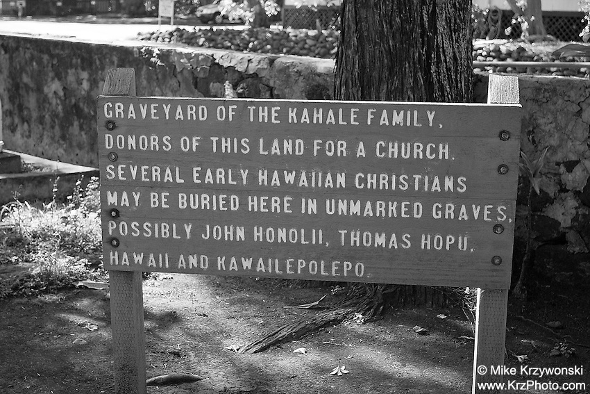 Sign in early Hawaiian Christian graveyard, Wailuku, Maui, Hawaii