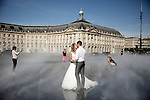 "The "" Miroir d'eau "" on the Place de la Bourse , the new riverside of Bordeaux"