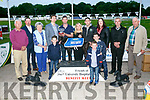 Misty Supreme from Ballyduff, Winner of the Kerry Group Hospital Sweepstake Final at the Kingdom Greyhound Stadium on Friday. Pádraig Mallon, Kerry Group presents the trophy to owner John Houlihan, Ballyduff Pictured l-r PJ Hayes, Kieran Casey, Nora Kelly, Pádraig Mallon, John Houlihan, Geraldine Enright, William Houlihan, Mairead Houlihan.Michael Houlihan, Noel Summers with Christopher Houlihan, Michael Houlihan and Jack Houlihan