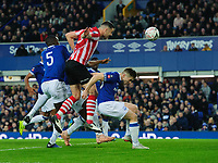 Lincoln City's Jason Shackell sends a header towards goal in the build up to Michael Bostwick scoring his sides first goal<br /> <br /> Photographer Chris Vaughan/CameraSport<br /> <br /> Emirates FA Cup Third Round - Everton v Lincoln City - Saturday 5th January 2019 - Goodison Park - Liverpool<br />  <br /> World Copyright &copy; 2019 CameraSport. All rights reserved. 43 Linden Ave. Countesthorpe. Leicester. England. LE8 5PG - Tel: +44 (0) 116 277 4147 - admin@camerasport.com - www.camerasport.com