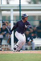 New York Yankees Frederick Cuevas (47) follows through on a swing during an Instructional League game against the Pittsburgh Pirates on September 28, 2017 at Pirate City in Bradenton, Florida.  (Mike Janes/Four Seam Images)