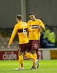Motherwell v St Johnstone...10.11.10  .Nick Blackman celebrates his first goal.Picture by Graeme Hart..Copyright Perthshire Picture Agency.Tel: 01738 623350  Mobile: 07990 594431