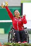 Yui Kamiji (JPN), <br /> SEPTEMBER 15, 2016 - Wheelchair Tennis : <br /> Women's Singles Medal Ceremony<br /> at Olympic Tennis Centre<br /> during the Rio 2016 Paralympic Games in Rio de Janeiro, Brazil.<br /> (Photo by Shingo Ito/AFLO)
