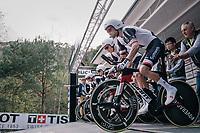 Tom Dumoulin (NED/Sunweb) off the start ramp<br /> <br /> UCI MEN&lsquo;S TEAM TIME TRIAL<br /> Ötztal to Innsbruck: 62.8 km<br /> <br /> UCI 2018 Road World Championships<br /> Innsbruck - Tirol / Austria