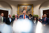 United States President Donald J. Trump speaks to the media before signing two executive orders on transparency in federal guidance and enforcement in the Roosevelt Room of the White House in Washington, DC, USA, 09 October 2019. Trump used the opportunity to speak about his impeachment inquiry, as well as Turkey's move into Syria.<br /> Credit: Jim LoScalzo / Pool via CNP