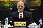 Palestinian Prime Minister, Rami Hamdallah, chairs a meeting of council ministery, in the West Bank city of Ramallah, on January 29, 2019. Palestinian Prime Minister Rami Al-Hamdallah said on Tuesday he tendered his resignation and that of his unity government to President Mahmoud Abbas, The government would continue to carry out its duties until a new one was formed, said am official statement issued after a weekly cabinet meeting. Photo by Prime Minister Office