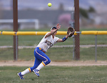 Wildcats' Melanie Mecham makes a catch in left field during a game against Snow College at Edmonds Sports Complex in Carson City, Nev., on Friday, March 20, 2015. <br /> Photo by Cathleen Allison/Nevada Photo Source