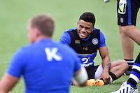 Kyle Eastmond of Bath Rugby is all smiles during the pre-match warm-up. Aviva Premiership match, between Bath Rugby and Exeter Chiefs on October 17, 2015 at the Recreation Ground in Bath, England. Photo by: Patrick Khachfe / Onside Images