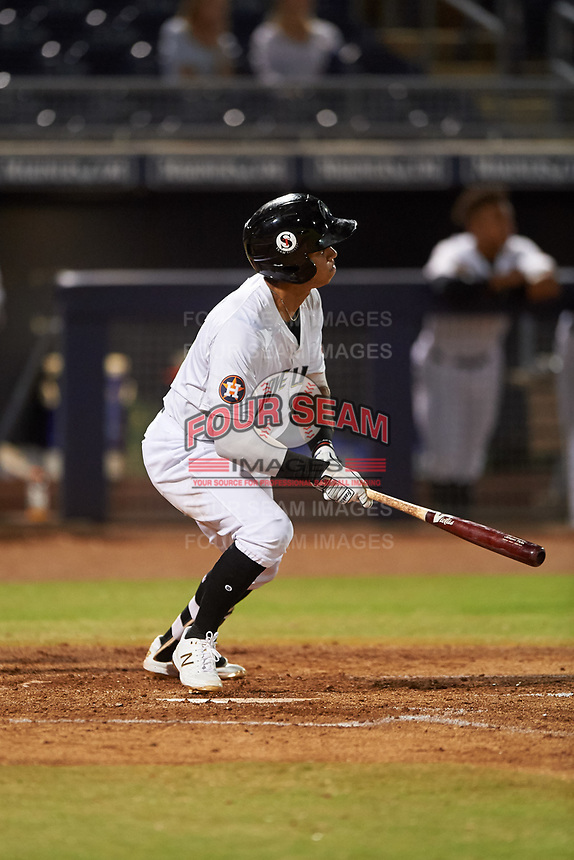Peoria Javelinas Jeremy Pena (13), of the Houston Astros organization, at bat during an Arizona Fall League game against the Surprise Saguaros on September 22, 2019 at Peoria Sports Complex in Peoria, Arizona. Surprise defeated Peoria 2-1. (Zachary Lucy/Four Seam Images)
