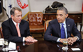 United States President Barack Obama and Speaker of the U.S. House John Boehner (Republican of Ohio) attend a bipartisan group of congressional leaders in the Roosevelt Room of the White House on November 16, 2012 in Washington, DC. .Credit: Olivier Douliery / Pool via CNP