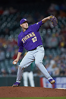 LSU Tigers relief pitcher Matthew Beck (27) in action against the Baylor Bears in game five of the 2020 Shriners Hospitals for Children College Classic at Minute Maid Park on February 28, 2020 in Houston, Texas. The Bears defeated the Tigers 6-4. (Brian Westerholt/Four Seam Images)