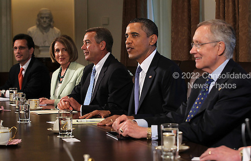 United States President Barack Obama meets with (L-R) U.S. House Majority Leader Representative Eric Cantor (Republican of Virginia), U.S. House Minority Leader Representative Nancy Pelosi (Democrat of California), Speaker of the U.S. House John Boehner (Republican of Ohio), and U.S. Senate Majority Leader Harry Reid (Democrat of Nevada) in the Cabinet Room of the White House, Monday, July 11, 2011 in Washington, DC. President Obama continued the budget and debt limit negotiations with congressional Republicans and Democrats.  .Credit: Alex Wong / Pool via CNP