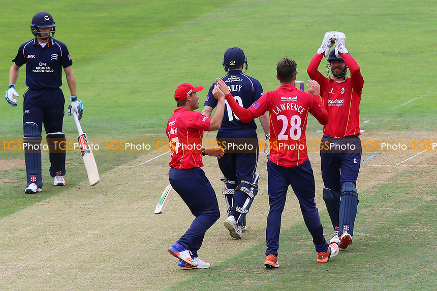 Daniel Lawrence of Essex is congratulated by his team mates after taking the wicket of George Bailey during Middlesex vs Essex Eagles, Royal London One-Day Cup Cricket at Lord's Cricket Ground on 31st July 2016