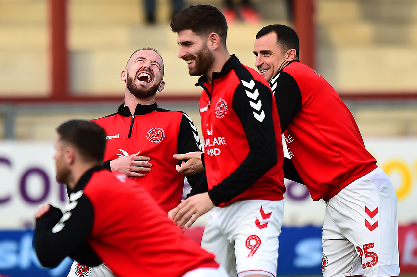 Fleetwood Town's Paddy Madden shares a joke with Ched Evans and Dean Marney (R)<br /> <br /> Photographer Richard Martin-Roberts/CameraSport<br /> <br /> The EFL Sky Bet League One - Fleetwood Town v Portsmouth - Saturday 29th December 2018 - Highbury Stadium - Fleetwood<br /> <br /> World Copyright © 2018 CameraSport. All rights reserved. 43 Linden Ave. Countesthorpe. Leicester. England. LE8 5PG - Tel: +44 (0) 116 277 4147 - admin@camerasport.com - www.camerasport.com