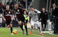Calcio, Serie A: Juventus vs Milan. Torino, Juventus Stadium, 21 novembre 2015. <br /> AC Milan&rsquo;s Alex, center, flanked by his teammate Juraj Kucka, is challenged by Juventus Hernanes during the Italian Serie A football match between Juventus and AC Milan at Turin's Juventus stadium, 21 November 2015. In background, children hold the French flag in homage to the victims of Paris' terrorist attacks.<br /> UPDATE IMAGES PRESS/Isabella Bonotto