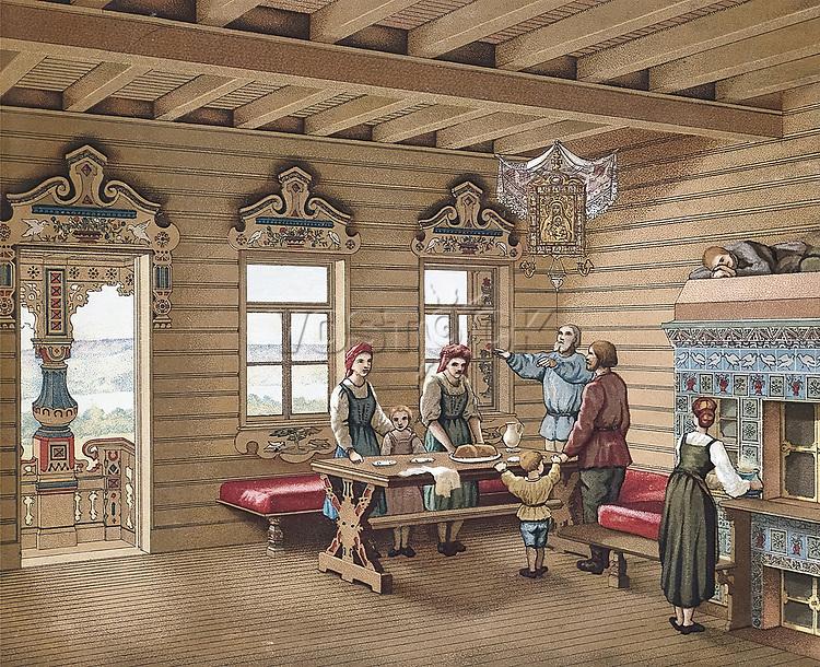 Interior of an Izba. Lithograph.