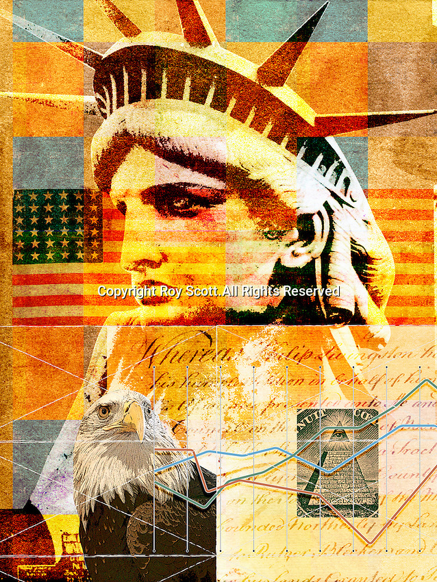 Collage of symbols of United States culture