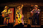 The Oldwest Trio performs with Ron Schofield a  at the conclusion of the 14th season of Ron, Marie and Tom Scofield's Cowboy Campfire at his Red Mule Ranch near Fiddletown, Calif.