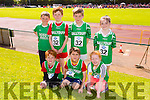Gavin Murphy, Jake Seagull and Jessica O'Sulleabhain.Back l-r Stephaín Carraig, Cillian Murphy, Adam Seagull and Ava O'Connor from Ballyduff at the Community Games finals at An Riocht on Saturday
