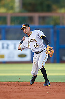 Bradenton Marauders shortstop Adrian Valerio (14) throws to first base during a game against the Charlotte Stone Crabs on August 6, 2018 at Charlotte Sports Park in Port Charlotte, Florida.  Charlotte defeated Bradenton 2-1.  (Mike Janes/Four Seam Images)
