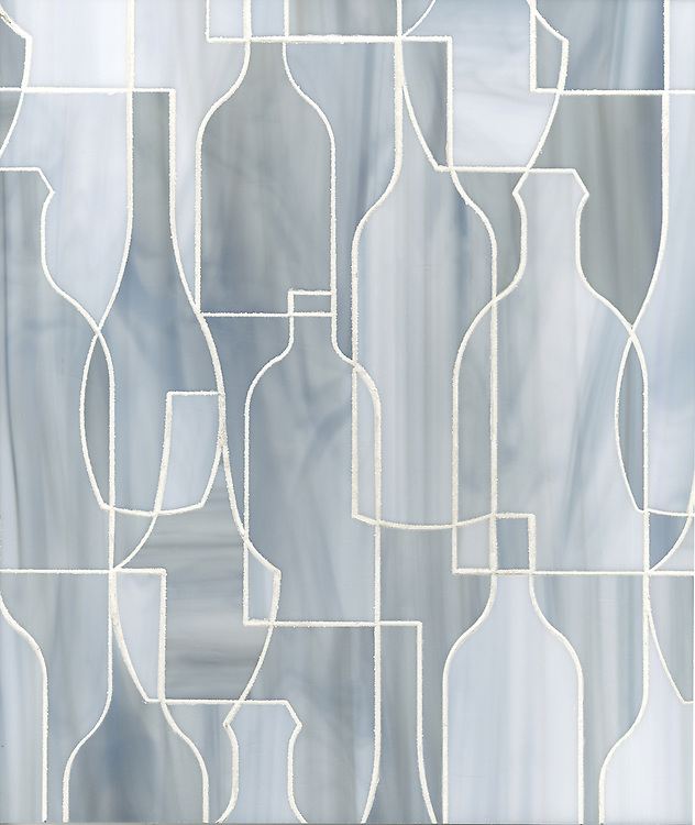 Bottles, a glass waterjet mosaic shown in Pearl, is part of the Erin Adams Collection for New Ravenna.