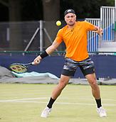 June 13th 2017, Nottingham, England; ATP Aegon Nottingham Open Tennis Tournament day 4;  Akira Santillan of Japan in action against Sergiy Stakhovsky of Ukraine