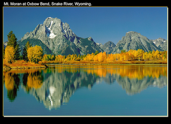 Mt Moran and Snake River from Oxbow Bend, a common viewpoint.<br /> Grand Teton National Park, Jackson Hole,  Wyoming. John offers private photo tours in Grand Teton National Park and throughout Wyoming and Colorado. Year-round.