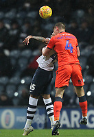 Preston North End's Lukas Nmecha in action with Millwall's Shaun Hutchinson<br /> <br /> Photographer Mick Walker/CameraSport<br /> <br /> The EFL Sky Bet Championship -  Preston North End v Millwall - Saturday 15th December 2018 - Deepdale-Preston<br /> <br /> World Copyright © 2018 CameraSport. All rights reserved. 43 Linden Ave. Countesthorpe. Leicester. England. LE8 5PG - Tel: +44 (0) 116 277 4147 - admin@camerasport.com - www.camerasport.com