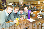 Science kids: Tarbert Comprehensive pupils Shane O'Connor, Noel Kennedy, Colm Reidy and Thomas Brouder who scooped glory at the BT Young Scientist Exhibition last week with their projects. Pictured back at school with their science class and teacher this week.