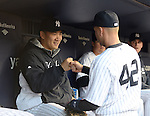 Masahiro Tanaka, Derek Jeter (Yankees),<br /> APRIL 16, 2014 - MLB : Masahiro Tanaka (L) of the New York Yankees bumps fists with Derek Jeter before the Major League Baseball interleague doubleheader game 2 against the Chicago Cubs at Yankee Stadium in the Bronx, NY, USA.<br /> (Photo by AFLO)