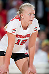 Wisconsin Badgers Julie Mikaelsen (12) during an NCAA volleyball match against the Michigan Wolverines at the Field House on October 30, 2010 in Madison, Wisconsin. Michigan won the match 3-1. (Photo by David Stluka)