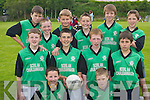 SEVEN A SIDE: Pupils from Cullina National School, Beaufort, who participated in the Killarney Garda Primary School seven a side competition in Spa last Friday. Front: Leigh Sweeney and Darren Sullivan. Middle row l-r: Damian OShea, Fergal Hallissey, Sean Kingston and Cathal Curran. Back row l-r: David Murphy, Danny Healy, Darragh Curran, Liam Carey, Eoin ONeill and David Coffey..