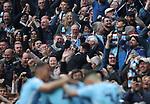 Manchester City fans celebrate during the premier league match at the Etihad Stadium, Manchester. Picture date 7th April 2018. Picture credit should read: Simon Bellis/Sportimage
