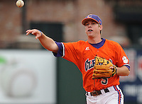 May 11, 2009: Infielder Mike Freeman (5) of the Clemson Tigers throws to first in a game against the Furman Paladins at Fluor Field at the West End in Greenville, S.C. Photo by: Tom Priddy/Four Seam Images