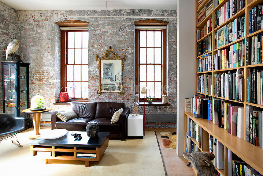 wooden bookcase in the living room
