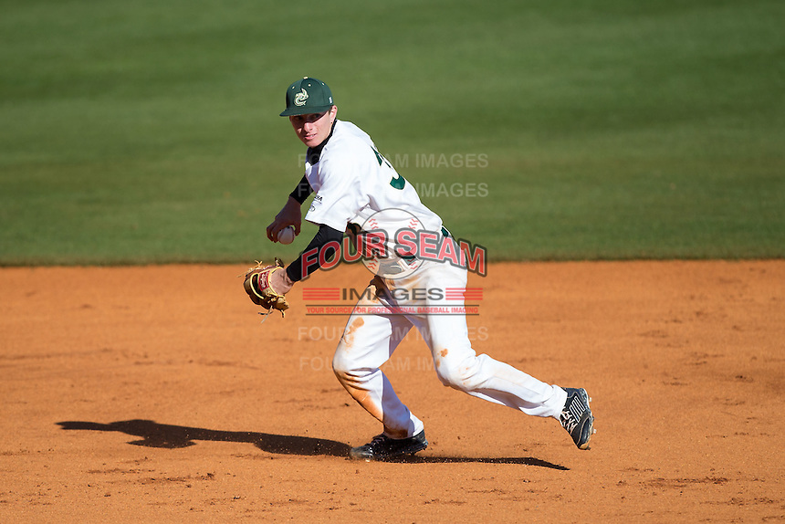 Charlotte 49ers third baseman Hunter Jones (33) makes a throw to first base against the Louisiana Tech Bulldogs at Hayes Stadium on March 28, 2015 in Charlotte, North Carolina.  The 49ers defeated the Bulldogs 9-5 in game two of a double header.  (Brian Westerholt/Four Seam Images)