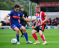 Lincoln City's Joe Morrell vies for possession with Sunderland's Luke O'Nien<br /> <br /> Photographer Chris Vaughan/CameraSport<br /> <br /> The EFL Sky Bet League One - Lincoln City v Sunderland - Saturday 5th October 2019 - Sincil Bank - Lincoln<br /> <br /> World Copyright © 2019 CameraSport. All rights reserved. 43 Linden Ave. Countesthorpe. Leicester. England. LE8 5PG - Tel: +44 (0) 116 277 4147 - admin@camerasport.com - www.camerasport.com
