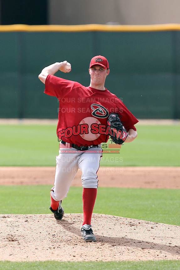 Charles Brewer #32 of the Arizona Diamondbacks plays in a minor league spring training game against the Cincinnati Reds at the Diamondbacks minor league complex on March 15, 2011  in Scottsdale, Arizona. .Photo by:  Bill Mitchell/Four Seam Images.