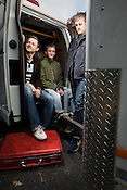 (From Left) Brooks Wood, Paul Sheeran, and Danny Shampine, on Friday, Dec. 6, 2008, prior to leaving for their last tour as the dudes from the Brooks Wood Band.