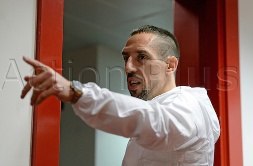 March 6th 2017, London England;  Bayern Munich's Franck Ribery at a press conference in the Emirates stadium. The German Bundesliga side will face the English Premier League club FC Arsenal in the second leg of the Champions League round of 16 fixture on the March 7th