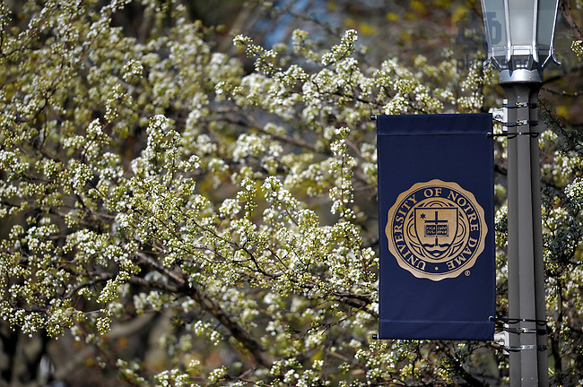 University seal banner..Photo by Matt Cashore/University of Notre Dame