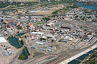 Aerial of downtown Pueblo, Colorado.  Looking southeast.