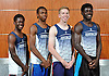 The Huntington 4x400 relay team poses for a portrait during Newsday's All-Long Island boys track and field photo shoot at company headquarters on Wednesday, June 15, 2016. Appearing are, from left, Lawrence Leake, Kyree Johnson, Shane McGuire and Infinite Tucker.