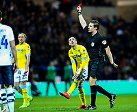Referee Robert Jones shows Preston North End's Ben Pearson (obscured) the red card<br /> <br /> Photographer Alex Dodd/CameraSport<br /> <br /> The EFL Sky Bet Championship - Preston North End v Leeds United -Tuesday 9th April 2019 - Deepdale Stadium - Preston<br /> <br /> World Copyright &copy; 2019 CameraSport. All rights reserved. 43 Linden Ave. Countesthorpe. Leicester. England. LE8 5PG - Tel: +44 (0) 116 277 4147 - admin@camerasport.com - www.camerasport.com